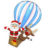 Hot air balloon with Santa Claus and deer — Stock Vector