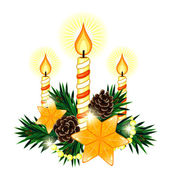 Christmas composition with 3 candles and two stars — Vector de stock