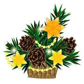 Christmas composition in basket with 3 yellow stars — Stockvektor