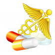 Caduceus and pills — Stock Vector