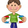 Stock Vector: Boy with magnet