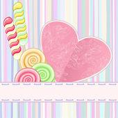 Retro card with lollipops — Vector de stock