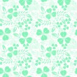 Stock Vector: Green seamless pattern with shamrock