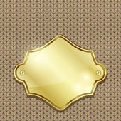 Gold badge over seamless knitted texture — Stock Vector