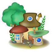 Três casas de cogumelos — Vetor de Stock