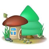 Mushroom house and fir — Stock Vector