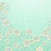 Carte bleue avec fleurs — Vecteur