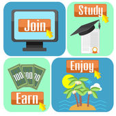 Concept of online education — Stock Vector