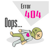 Error 404 concept with voodoo doll — Stock Vector