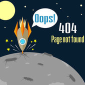 Error 404 concept with crushed rocket — Stock Vector