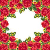 Röd blommig ram — Stockvektor