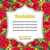 Invitation over red flowers — Stock Vector