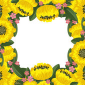Yellow floral frame — Stock Vector