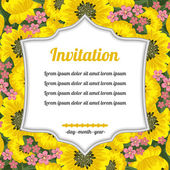 Invitation over yellow flowers — ストックベクタ