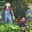 Scarecrows and Wagon — Stock Photo