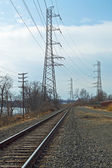 Power Lines and Tracks — Stock Photo