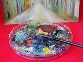 Pędzel i farby — Zdjęcie stockowe