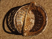 Basket, pen, background, brown, — Stock Photo