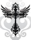 Kruis en vleugels — Stockvector