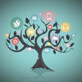 Sociální média strom — Stock vektor