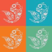 Final Social Media Birds — Stockvektor