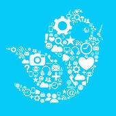 Uccelli di media sociali — Vettoriale Stock