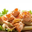 Salmon with Caviar and Noodles - Stock Photo