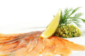 Salt Salmon with Avocado Frappe — Stock Photo