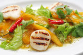 Vegetables and scallops salad — Stock Photo