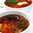 Russian and Ukrainian Cuisine - Solyanka and Fish Soup — Stock Photo