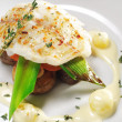 Halibut on Vegetable — Stock Photo #12504353