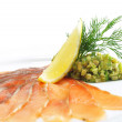Salt Salmon with Avocado Frappe — Stock Photo