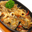 Japanese Cuisine - Hot Noodles with Seafood — Stock Photo #12505457