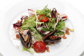 Salad with Crab Meat and Mussels — Stock Photo