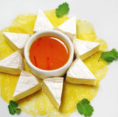 Appetizer - Camembert on a Pineapple Carpaccio — Stock Photo