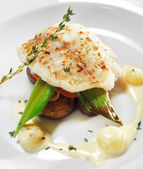 Hot Fish Dishes - Halibut fillet — Stock Photo