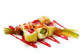 甜的水果寿司卷 — 图库照片