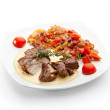 Stock Photo: Medallions of pork with beans and salsa
