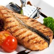 Fish Dishes - Salmon Steak — Stock Photo