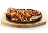 Grilled Seafoods - BBQ Shrimps, Mussels and Calamari Rings — Stock Photo