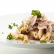 Pasta Penne with Mushrooms and Parmesan Cheese. Garnished with Parsley — Stock Photo