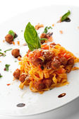 Pasta with Meat Sauce and Basil Leaf — Stock Photo