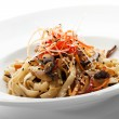 Noodles with Mushrooms — Stock Photo