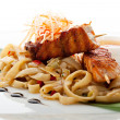 Noodles with Salmon - Foto Stock
