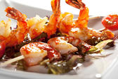 Skewered Shrimps — Stock Photo