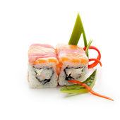 Salmon and Tuna Roll — Zdjęcie stockowe