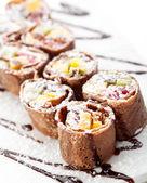 Chocolate Sushi Roll — Stock Photo