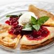 Dessert - Pancakes with Ice Cream — Stock Photo