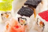 Salmon and Tobiko Roll — Stock Photo