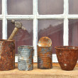 Stockfoto: Rusty tin cans